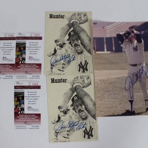 Yankee Greats Autograph Collection - Three Catfish Hunter Signed Autographed Photos (1) 8X10 & (2) 5x6