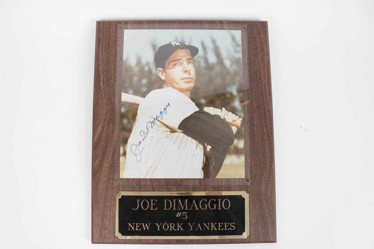 Yankees - Joe DiMaggio Autographed 8x10 Photo Display Plaque - JSA