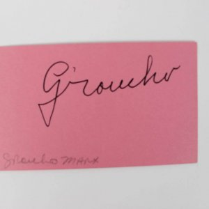 Comedian - Grocho Marx Signed Index Card