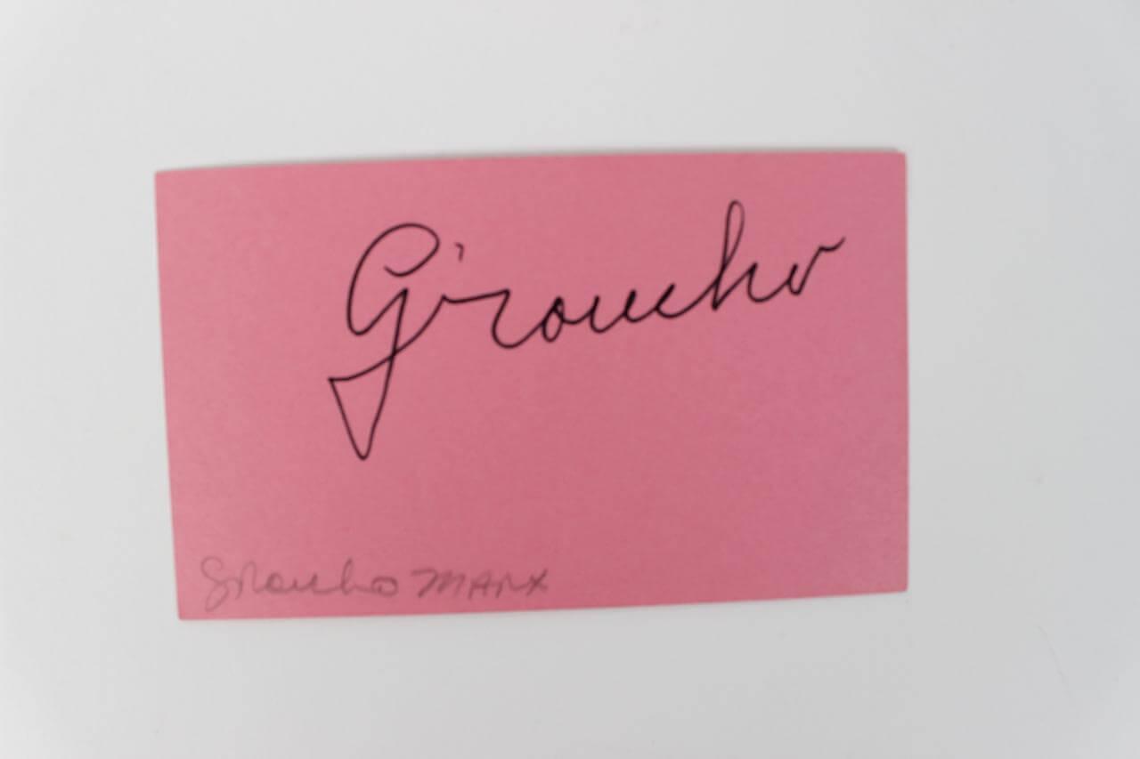Comedian - Grocho Marx Signed Index Card - JSA