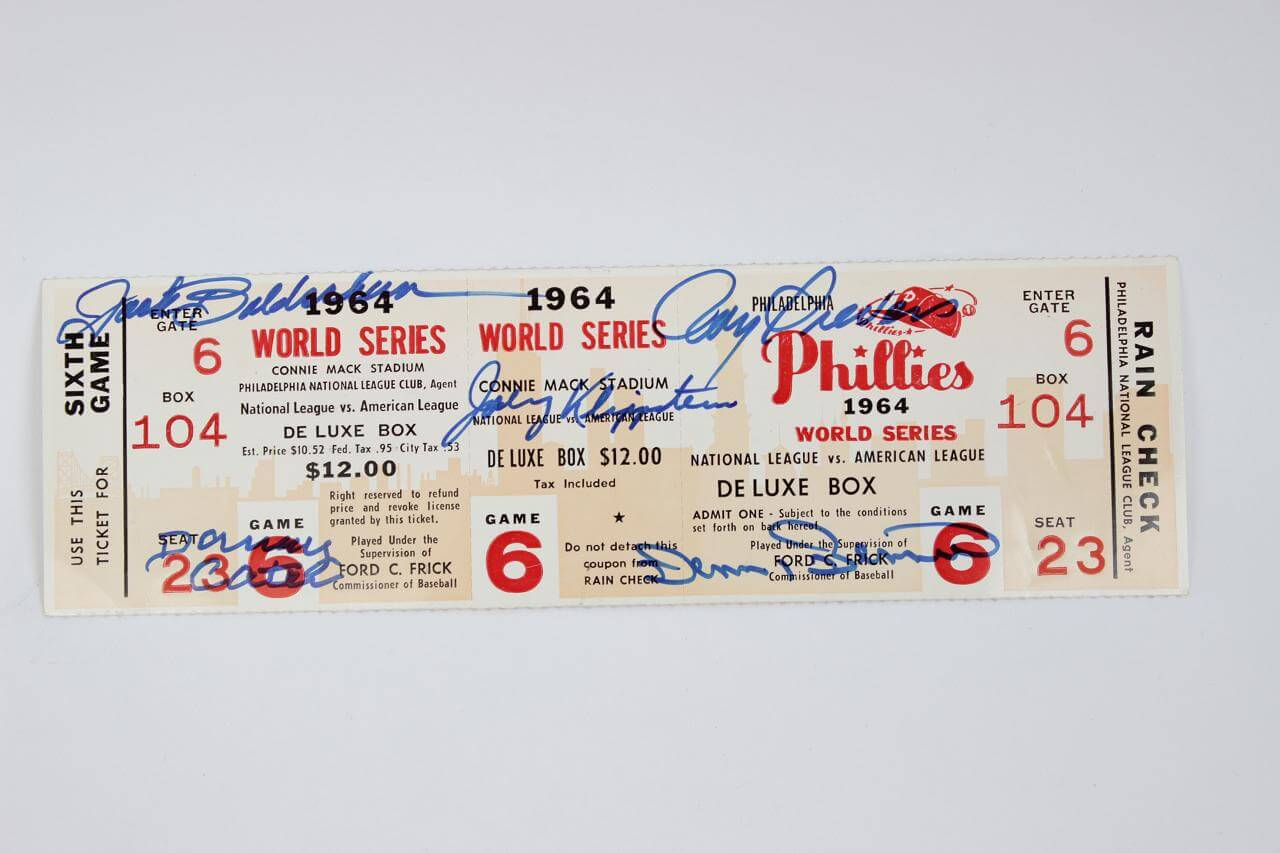 1964 Phillies World Series Phantom Ticket Signed by 5 Players (JSA)