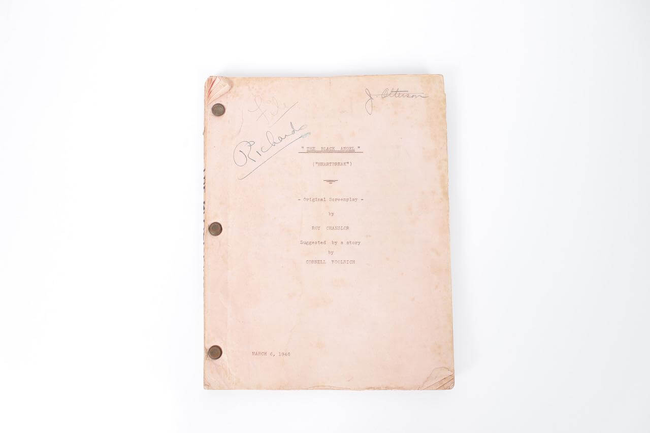 March 6, 1946 Black Angel Movie Script - Novel by Cornell Woolrich
