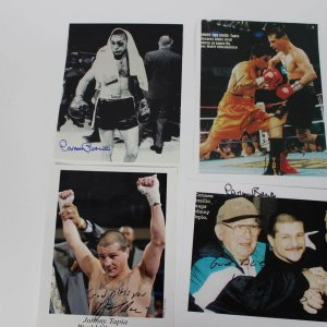 """Boxing Legends Lot of (4) Autographed Photos - Incl. (2) Johnny Tapia """"God Bless You"""""""