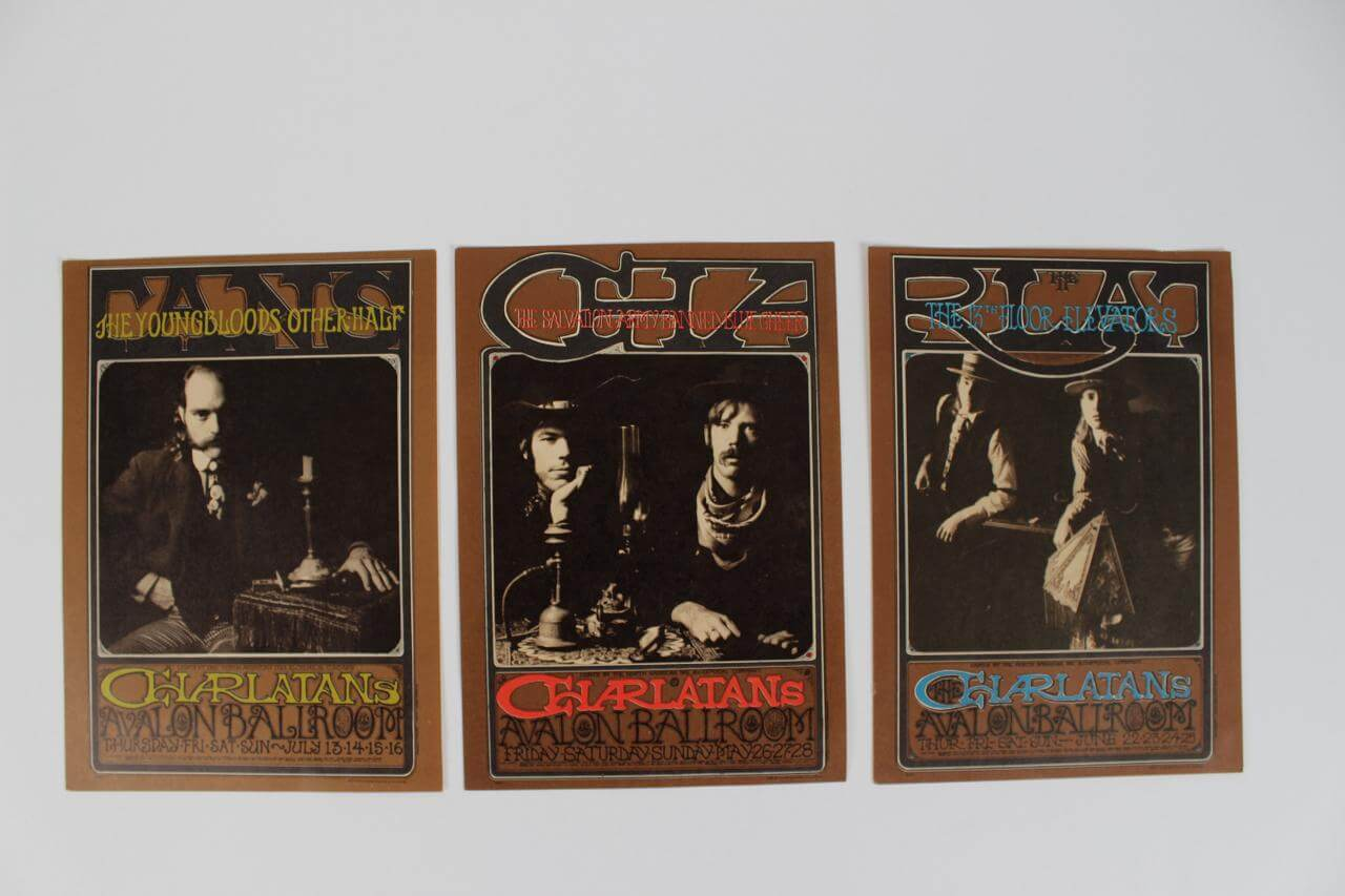 Triptych of Rare 1967 Concert Handbills Set feat. The Charlatans at The Avalon Ballroom in San Francisco - Family Dog Post Card Series - by Artists Rick Griffin - Robert Fried