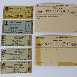 Vintage 1956 CBS & NBC Ticket Lot of (7) 1956 The New Johnny Carson Show