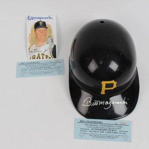 Pittsburgh Pirates - Bill Mazeroski Signed Batting Helmet & Perez Steele Post Card (Incl. Tickets From Show)