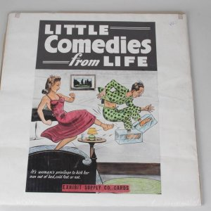 "1940s Exhibit Supply Company Advertising ""Little Comedies from LIFE"" Poster - (Man with Cold Feet Getting Kicked Out of Bed)"