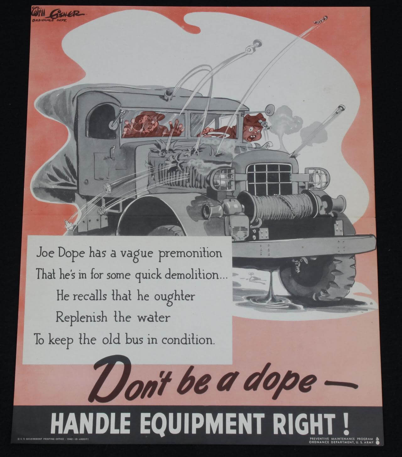 "1942 WWII Wartime ""Joe Dope"" Water Replenish in Jeep 14x18 Poster - by Artist Will Eisner"