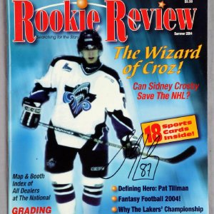 Sidney Crosby Signed Rookie Review Magazine With Cards