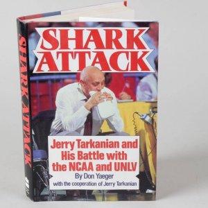 UNLV Coaching Legend - Jerry Tarkaninan Signed Shark Attack Hardcover Book