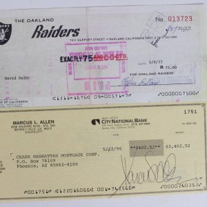 Oakland Raiders Signed Check Lot Incl. Marcus Allen Signed Mortgage Check & David Dalby Signed Paycheck