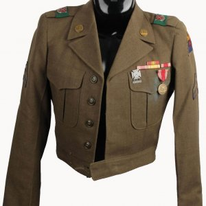 1950s U.S. Army WWII - Korean War Era Ike Military Jacket - Corporal - 6th Engineers - Marksman, Good Conduct Medals