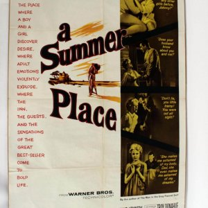 "Vintage 1950s Movie Poster ""A Summer Place"" Romantic Film 27x42"