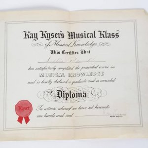 "1940s Kay Kyser's ""Signed"" Musical Knowledge Diploma"