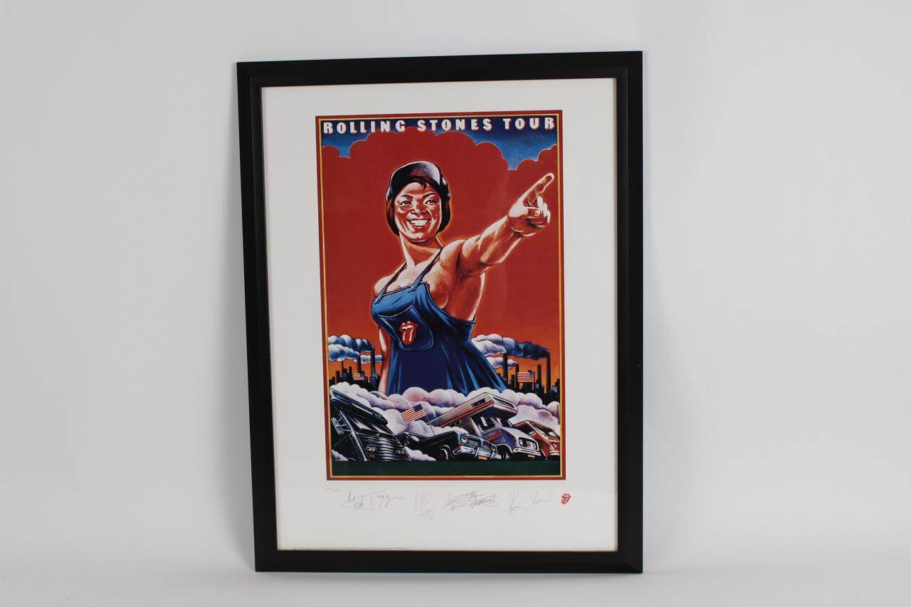 Rolling Stones Tour Limited Edition 632/5000 Stamped Signature Lithographic Image 12x18 in 26x20 Display