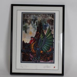 The Rolling Stones Cardiff and Pembroke Castles Lithograph 19x26 Display