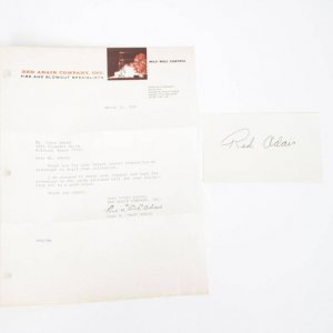 """Paul Neal """"Red"""" Adair Signed Letter & 3x5 Index Card"""