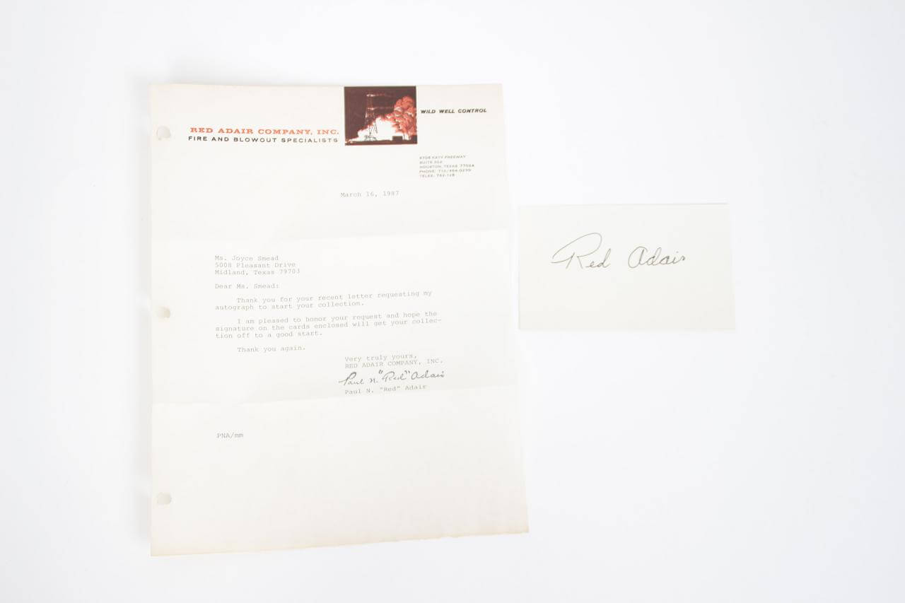 "Paul Neal ""Red"" Adair Signed Letter & 3x5 Index Card"