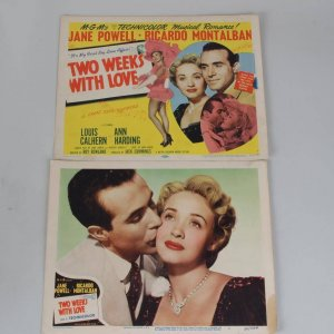 1950 Two Weeks With Love Film Movie Lobby Card Set of 2 Starring Jane Powell