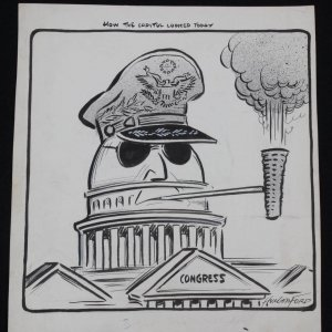 "Hungerford Artist 13"" x 14-1/2"" Original Political Artwork Cartoon ""How the Capital Looked Today"""