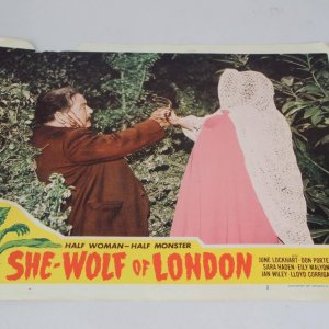 She Wolf of London Horror Film Lobby Card Starring June Lockhart