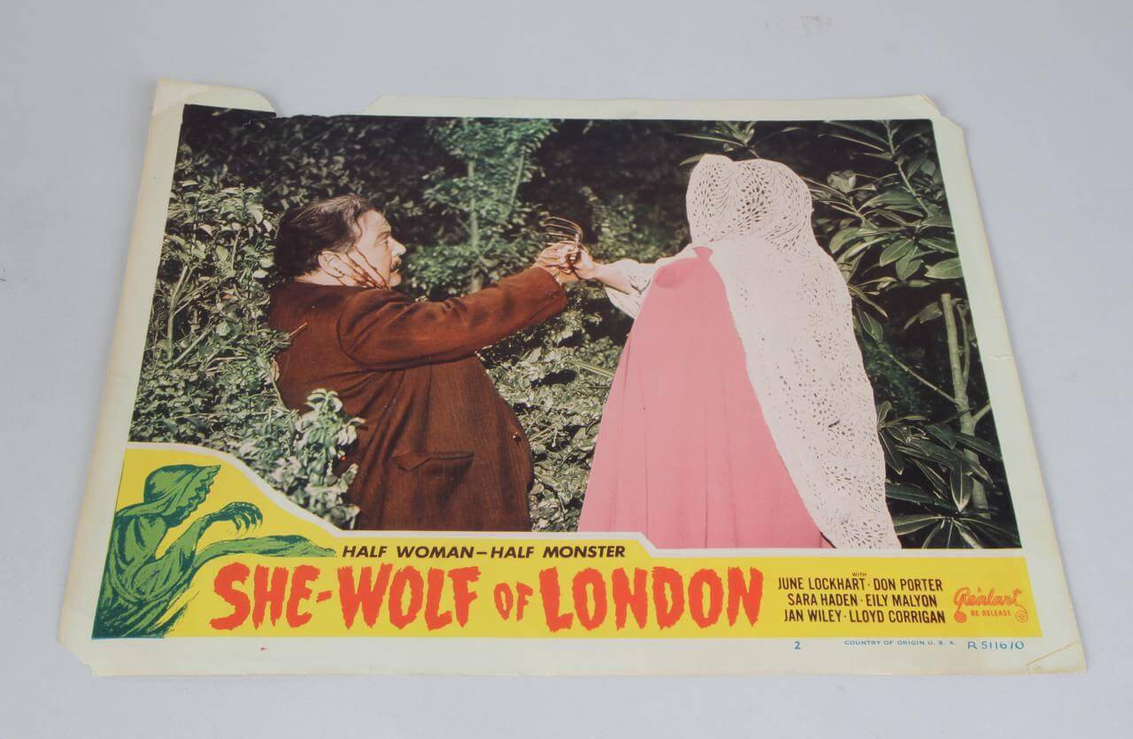 1946 - She Wolf of London Horror Film (1951 Re-Release) Lobby Card