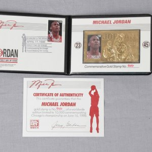 Michael Jordan Commemorative Gold Stamp Card Number 9080