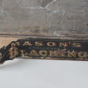 Vintage Original Mason's Challenge Blacking Shoe Polish Wood Box Featuring African American Art