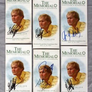 Lot of 6 Stuart Appleby & Aaron Baddeley Autographed Spectator Programs from Muirfield Village Golf Club May 22-28 2009