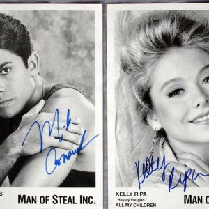 All My Children - Kelly Ripa & Mark Consuelos 5x7 B&W Movie Promo Photos (PSA/DNA Sticker)