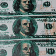 $100 Dollar Bill Featuring Ben Franklin Steve Kaufman 14x40 Canvas Giclee 5/100 Signed Initialed