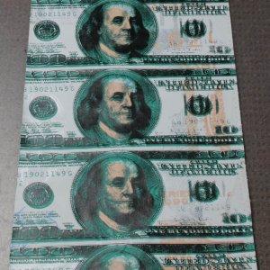 $100 Dollar Bill Featuring Ben Franklin Steve Kaufman 14x40 Canvas Giclee 5/100 Signed Initialed