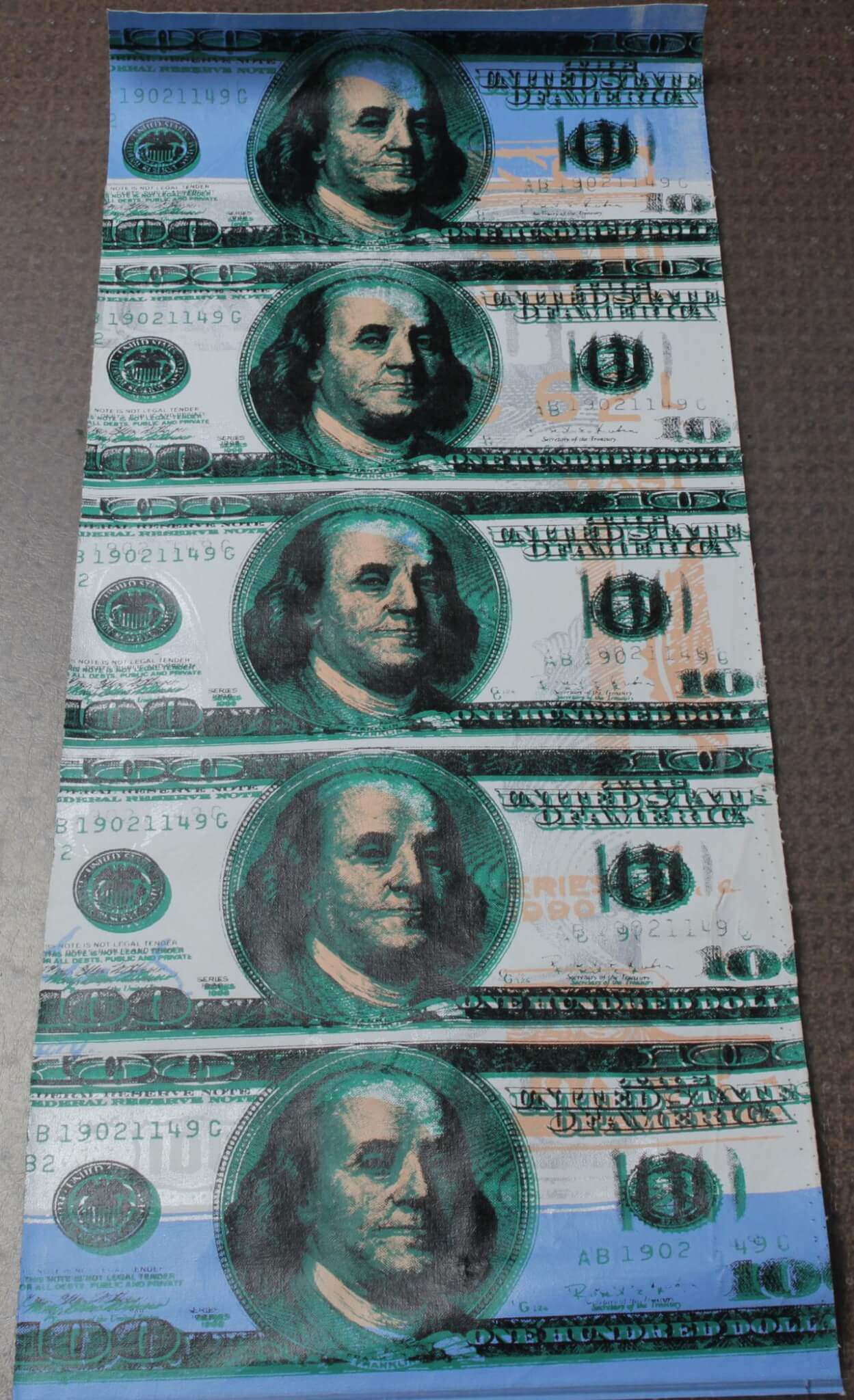 $100 Dollar Bill Featuring Ben Franklin Steve Kaufman 14×40 Canvas Giclee 5/100 Signed Initialed