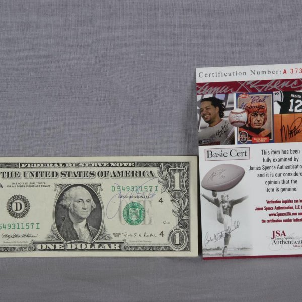 San Francisco 49ers - Joe Montana Signed Dollar Bill - COA JSA