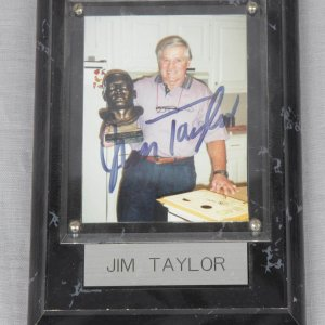Packers - Jim Taylor Signed Personal Snapshot Photo with Plaque Display - COA