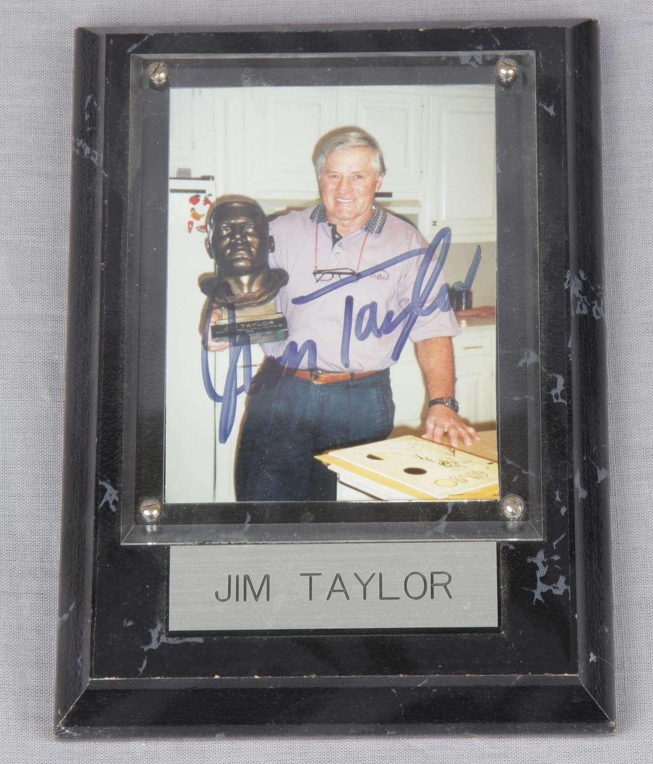 Jim Taylor Signed Photo Plaque Display Packers - COA
