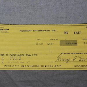 George R.Newhart Signed Personal Check
