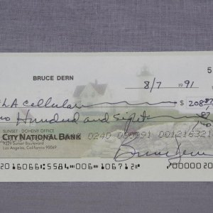 Django Unchained Actor - Bruce Dern Signed Personal Check