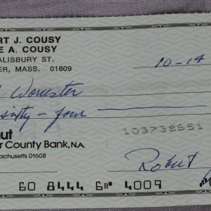 Boston Celtics - Robert (Bob) J. Cousy Signed Check - COA