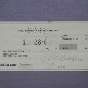 Actor - Carl Reiner Signed Personal Check - COA
