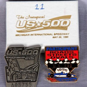 1996 Indy Car Rare Participation Pin Lot of Two - Inaugural US 500 at Michigan International Speedway (Serial Numbered) & U.S. 500 Roads Streets Ovals (From Race Official)