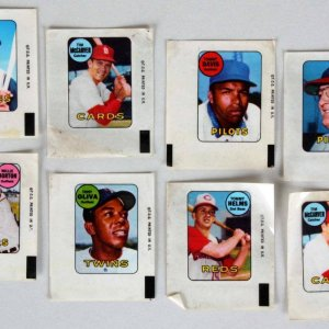 1969 Topps Mini-Decals Lot incl. 8 with Roberto Clemente
