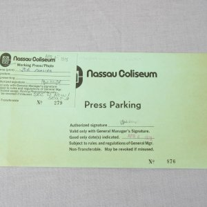 1975 Nassau Coliseum Pass - Belonged to Joe Frazier (Futch Collection)