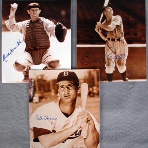 Three Baseball  Greats - Signed 8x10 Photos - Rick Ferrell, Bill Rogell & Cal Abrams