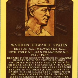 Warren Edward Spahn Braves Autographed Yellow Backed Postcard