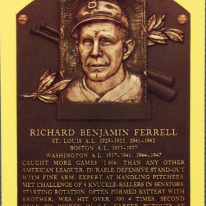 Red Sox - Senators - Rick Ferrell Signed Yellow HOF Postcard - COA