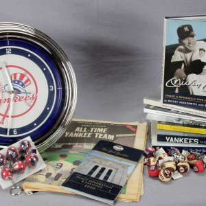 Huge Yankees Lot Books Mickey Mantle Conlon Clock Programs World Series Opening Day etc.