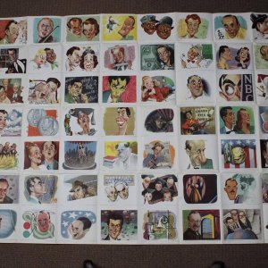 Rare 1947 NBC Parade of Stars Radio & TV Star Caricature Card Uncut 56 Promo Card Sheet