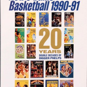 90-91 Notre Dame Head Coach-Digger Phelps Signed Media Guide - COA