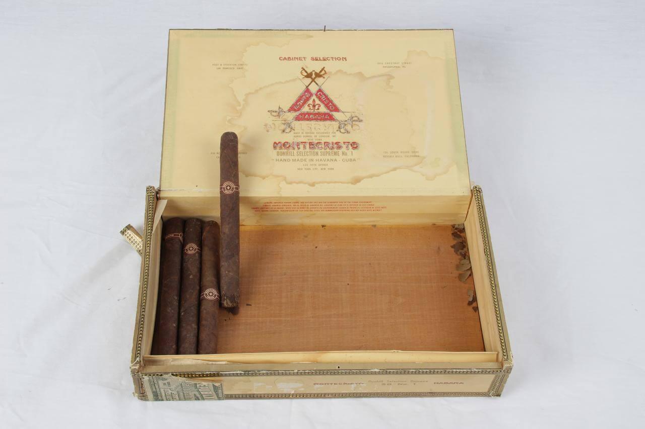 Pre-Embargo Pre -Castro Monte Cristo Habana Dinhill Selection Supreme No 1 Hand Made In Havana-Cuba Box